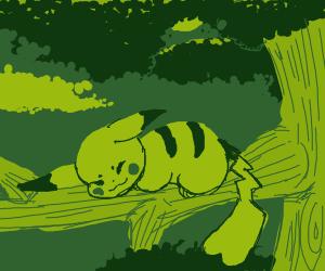 Pikachu in a tree