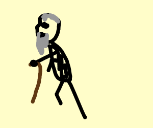 ol' greybeard with a cane