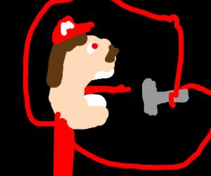 Mario eating a hammer