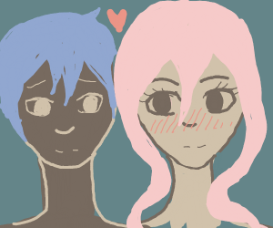 blue guy falls in love with pink girl