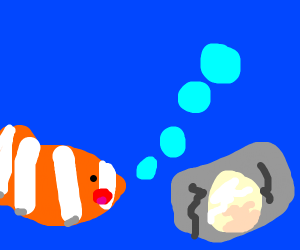 Fish going towards clam with a pearl