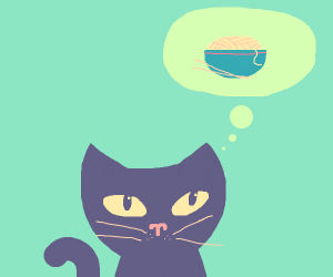 A cat thinks about ramen