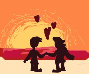 Two lovers in a sunset at the beach
