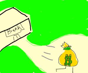 Money bag runs away from bank