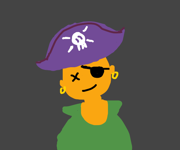 This pirate has an eye patch but no eyes.
