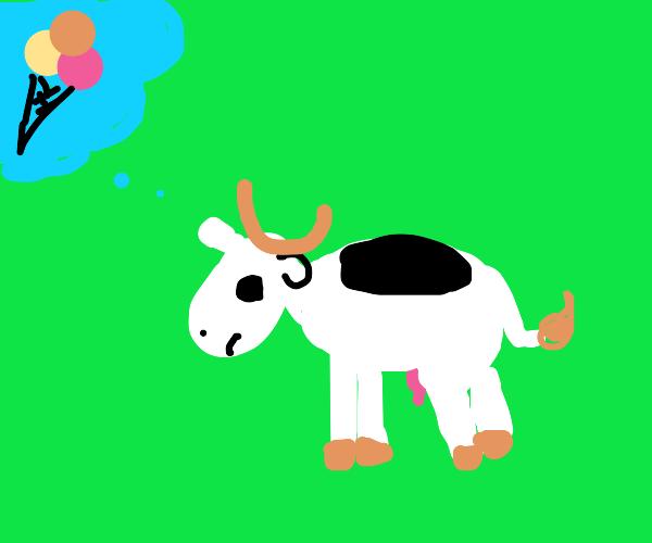 Cow wants ice cream (relatable)