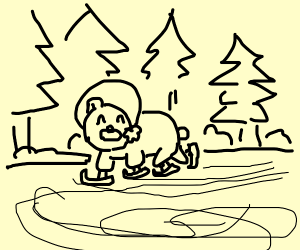 Bear doing ice skating