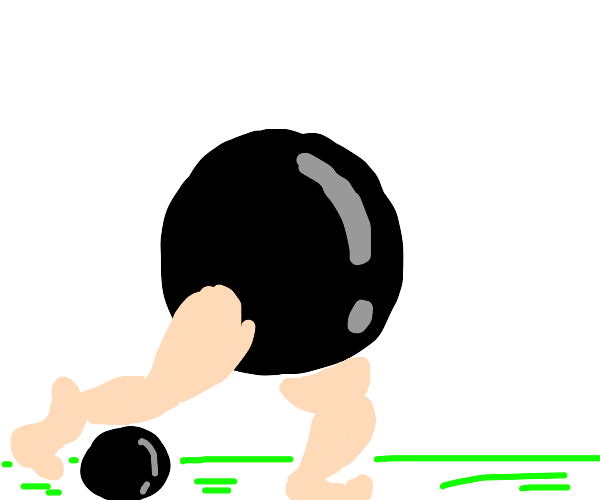Cannon ball with muscle legs