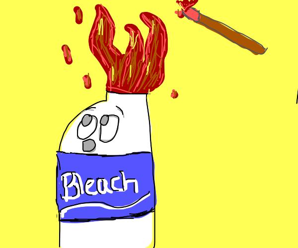 bleach got set on fire