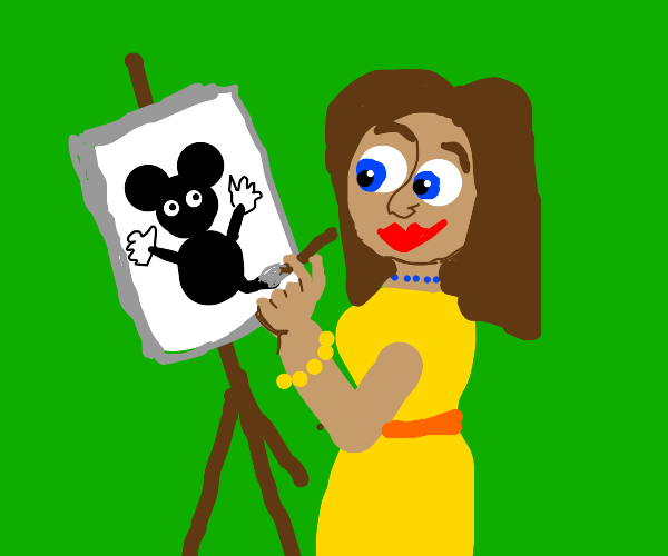 A Girl Painting A Mickey Mouse Picture