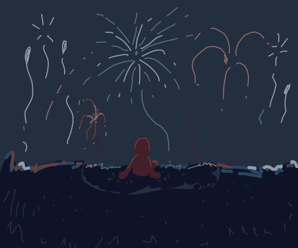 Girl watching fireworks