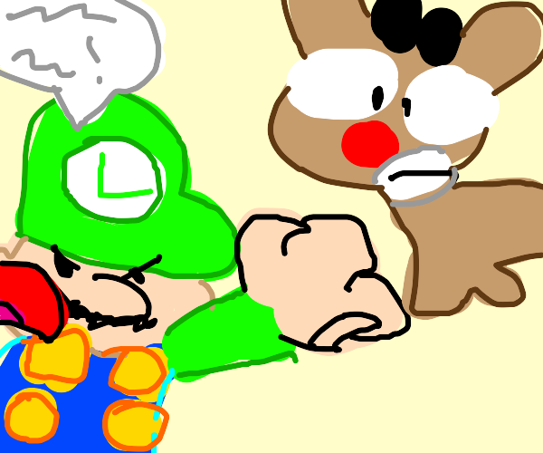 Luigi yells at Rudolph the red nosed reindeer