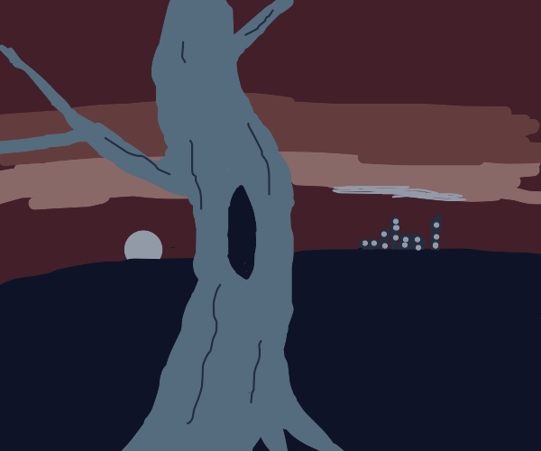 Tree with city in background