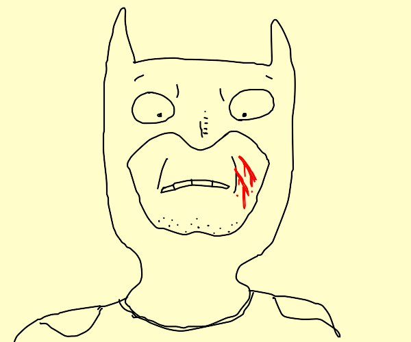 someone scratched batman's face