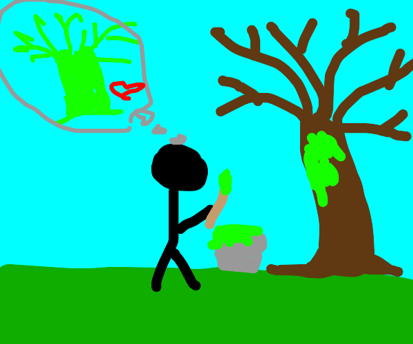 painting the tree green