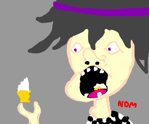 kokichi eating a cupcake