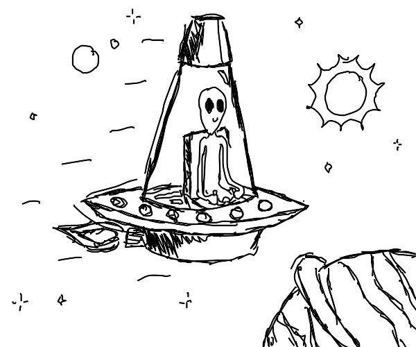 Lava lamp shaped ufo with green alien