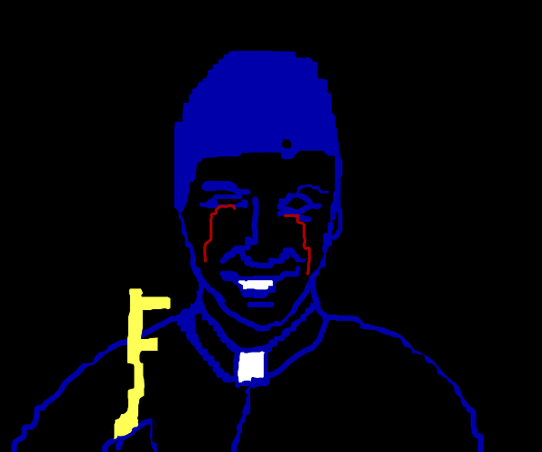 Blue guy with key is crying blood