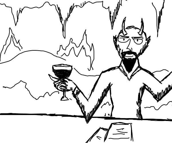 Demon holds a Glass of Wine