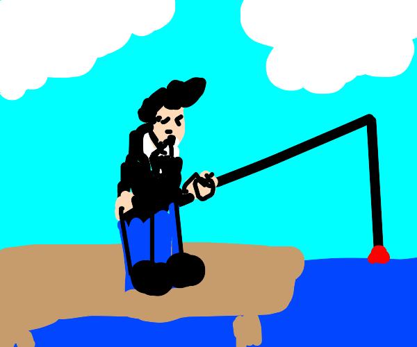 Fancy man fishing