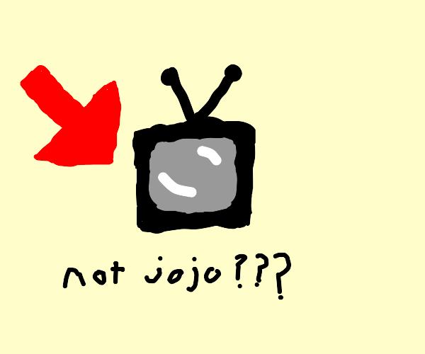 red arrow pointing at tv (not jojo)