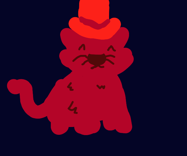Brown cat in red top hat