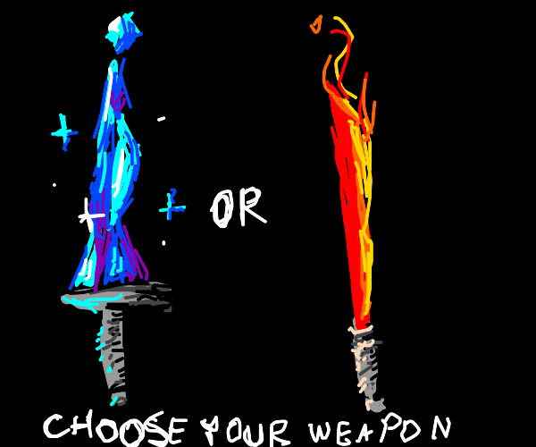 choosing between an ice sword or fire blade