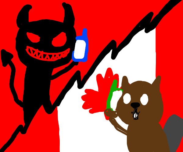 canadian beaver listens to the devil