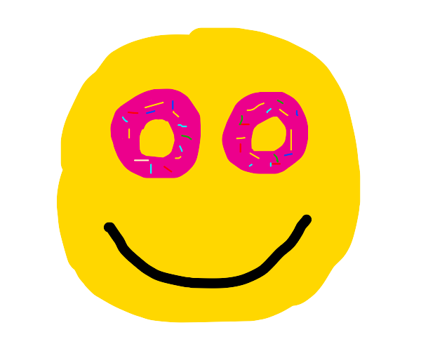 A face with donuts for eyes