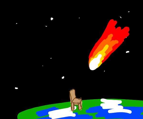 Meteor flies towards a chair