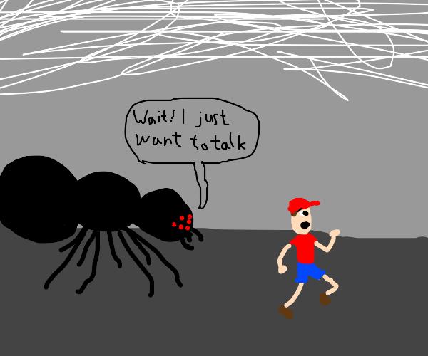 Boy running from a gian spider