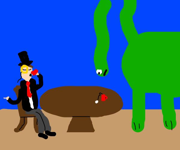Gentleman having tea with a dinosaur