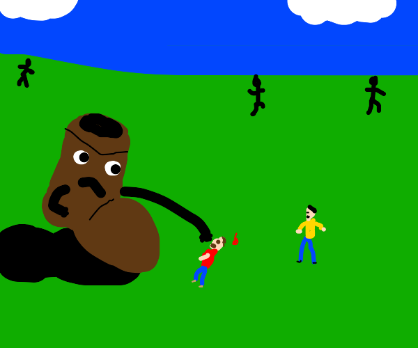 giant boot with face punches people