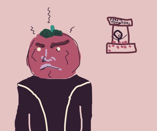 Anthropomorphic tomato hates tomato sellers