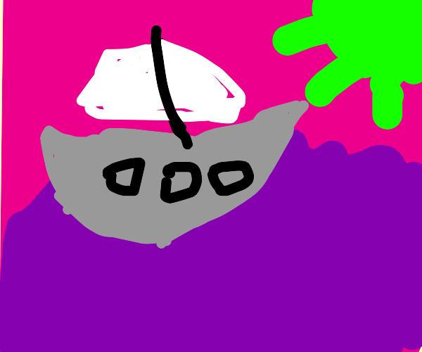 Silver boat, floats in a purple substance