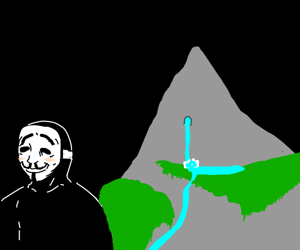 anonymus person next to mountain