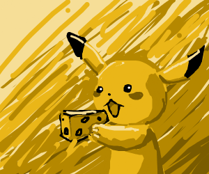 pikachu eating cheese