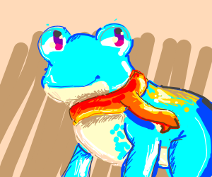 Blue frog with orange scarf