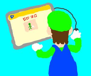 Luigi playing drawception while starving