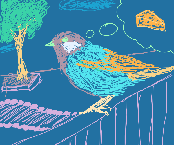 A songbird dreams of cheese.