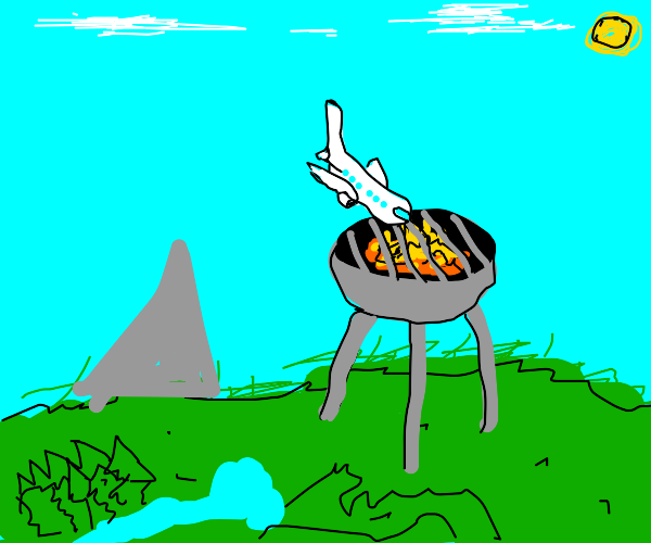 plane crashes into a giant grill