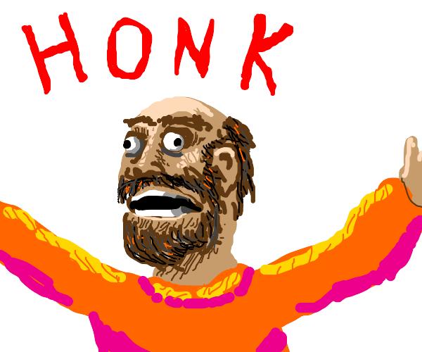 Bearded guy honking