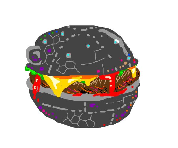 Round cyborg burger reminisent of codsworth