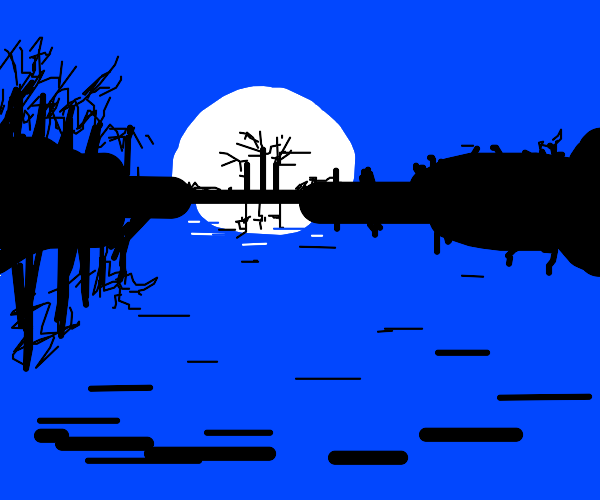 Moonrise over a lake with trees