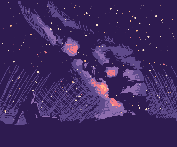Girl enjoys the starry sky