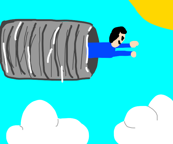 man is flying in a giant tin can