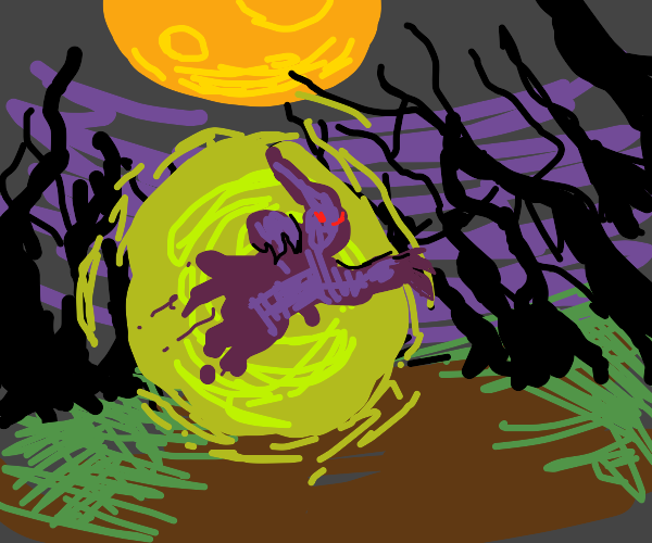 ghost exiting a portal in the woods