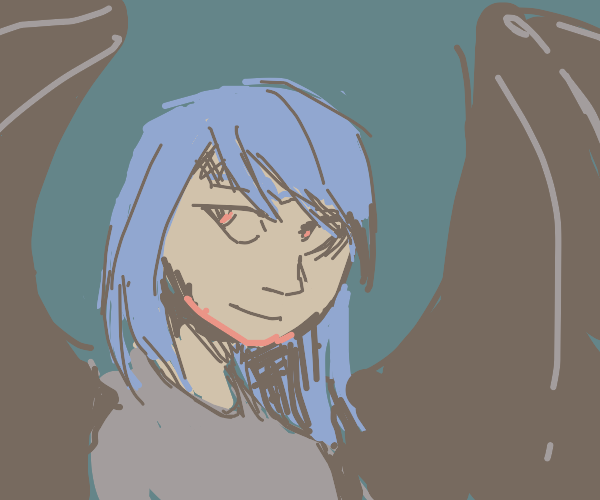 Girl with blue hair... is a bat??
