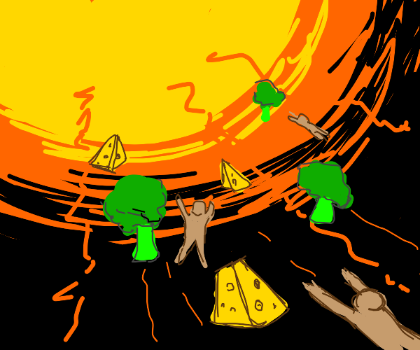 The sun collects broccoli, cheese, and people