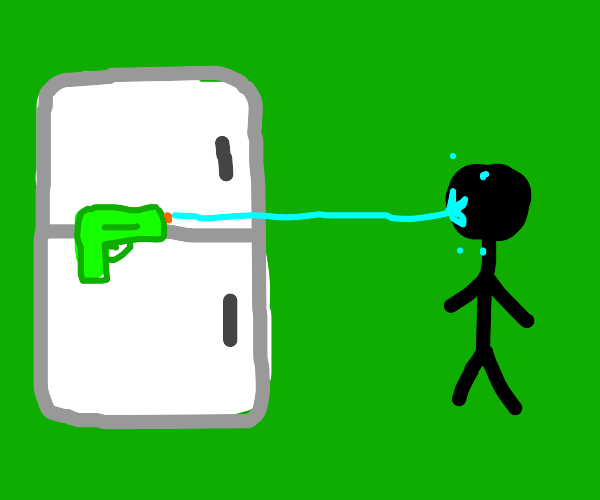Fridge shooting water at a person